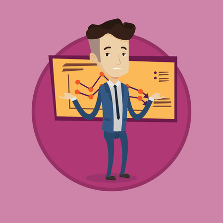 Bancrupt standing on the background of decreasing chart. Bancrupt business man with spread arms. Business bankruptcy concept. Vector flat design illustration in the circle isolated on background.
