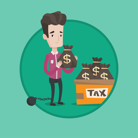 shackles: Chained to a ball taxpayer standing near bags with taxes. Businessman holding bag with taxes. Concept of tax time and taxpayer. Vector flat design illustration in the circle isolated on background.