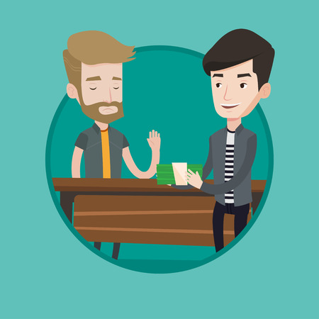 bribery: Caucasian businessman giving a bribe. Uncorrupted hipster man with beard refusing to take a bribe. Bribery and corruption concept. Vector flat design illustration in the circle isolated on background