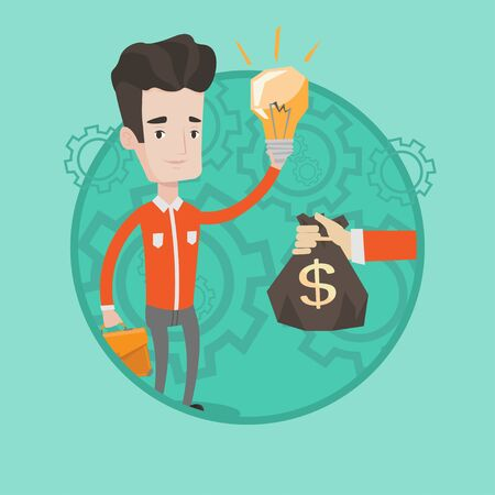 Successful caucasian businessman exchanging his business idea light bulb to money bag. Concept of successful business idea. Vector flat design illustration in the circle isolated on background. Çizim