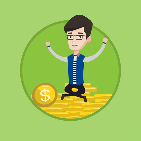 Caucasian successful businessman sitting on stack of golden coins. Young successful businessman sitting on a pile of golden coins. Vector flat design illustration in the circle isolated on background.