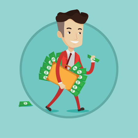 Businessman walking with suitcase full of money. Businessman holding briefcase full of money. Businessman with money in his bag. Vector flat design illustration in the circle isolated on background.