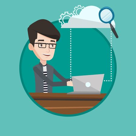 Young businessman working on laptop under cloud. Caucasian businessman using cloud computing technologies. Cloud computing concept. Vector flat design illustration in the circle isolated on background Illustration