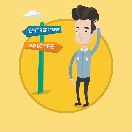 Man standing at road sign with two career pathways - entrepreneur and employee. Man choosing career pathway. Career choice concept. Vector flat design illustration in the circle isolated on background Ilustração