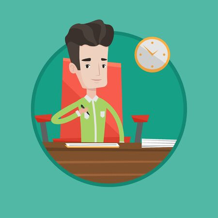Businessman signing business contract in office. Man is about to sign a business contract. Signing of business contract concept. Vector flat design illustration in the circle isolated on background. Illustration