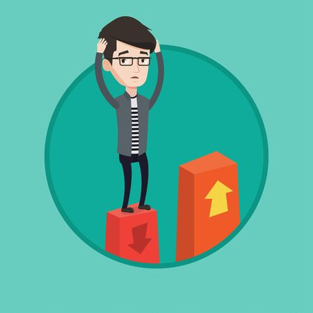Caucasian frightened bankrupt clutching his head. Young bankrupt standing on chart going down. Concept of business bankruptcy. Vector flat design illustration in the circle isolated on background. Illustration
