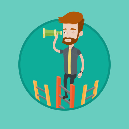Businessman searching for opportunities. Businessman using spyglass for searching of opportunities. Business opportunities concept. Vector flat design illustration in the circle isolated on background Ilustracja