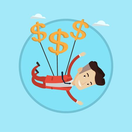 Businessman flying with dollar signs. Happy businessman gliding in the sky with dollars. Businessman using dollars as parachute. Vector flat design illustration in the circle isolated on background. Illustration