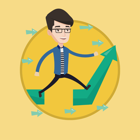 Businessman facing with business obstacle. Businessman coping with business obstacle successfully. Business obstacle concept. Vector flat design illustration in the circle isolated on background.