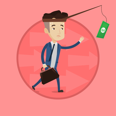 Businessman catching money on fishing rod. Businessman running for money hanging on fishing rod. Financial motivation concept. Vector flat design illustration in the circle isolated on background. Illustration