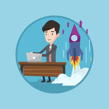 Caucasian businessman working on business start up and business start up rocket taking off behind him. Business start up concept. Vector flat design illustration in the circle isolated on background. Illustration
