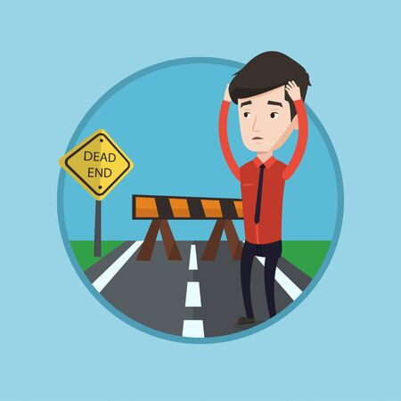 Man looking at road sign dead end symbolizing business obstacle. Man facing with business obstacle. Business obstacle concept. Vector flat design illustration in the circle isolated on background. Illustration