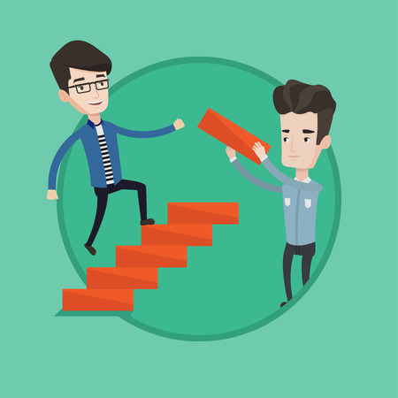 career up: Young caucasian businessman runs up the career ladder while another man builds this the career ladder. Concept of business career. Vector flat design illustration in the circle isolated on background.