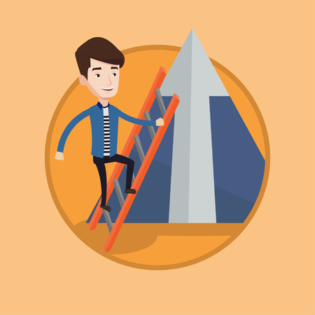 Young businessman climbing the ladder. Businessman climbing on mountain. Businessman climbing upward to the top of a big arrow. Vector flat design illustration in the circle isolated on background. Illustration