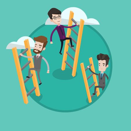 Businessmen climbing the ladders. Businessmen climbing on the cloud. Businessmen climbing to success. Business competition concept. Vector flat design illustration in the circle isolated on background