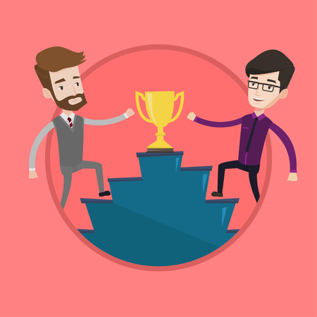 Businessmen competing for trophy. Two competitive businessmen running up for the winner cup. Business competition, award concept. Vector flat design illustration in the circle isolated on background. Illustration