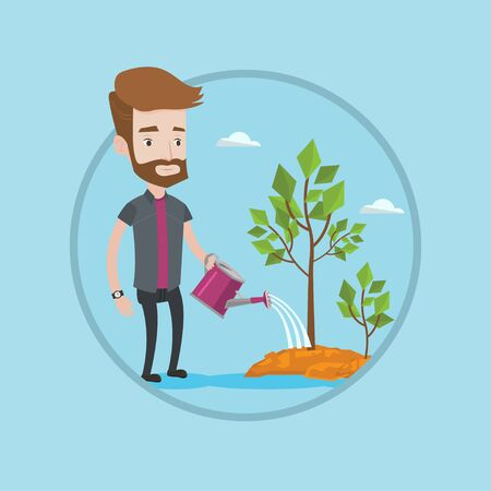 Man watering trees of three sizes. Young businessman watering plants with watering can. Business growth and investment concept. Vector flat design illustration in the circle isolated on background.