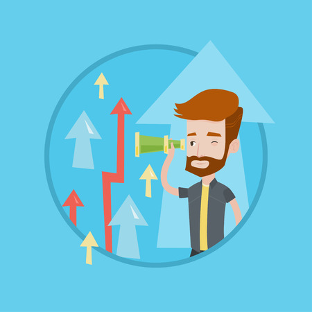 Businessman looking through spyglass on arrows going up symbolizing business opportunities. Business vision, opportunities concept. Vector flat design illustration in the circle isolated on background Illustration
