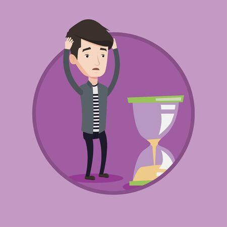 Businessman looking at hourglass symbolizing deadline. Man worrying about deadline terms. Time management and deadline concept. Vector flat design illustration in the circle isolated on background.