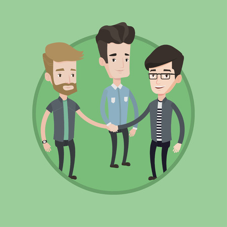 Group of caucasian businessmen joining hands. Business people putting their hands together. Business people stacking their hands. Vector flat design illustration in the circle isolated on background. Ilustrace