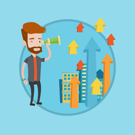 Businessman looking through spyglass at arrows going up. Businessman looking for business opportunities. Business vision concept. Vector flat design illustration in the circle isolated on background. Vektoros illusztráció