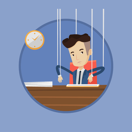 Businessman hanging on strings like a marionette. Marionette on ropes sitting in office. Emotionless marionette man working. Vector flat design illustration in the circle isolated on background.