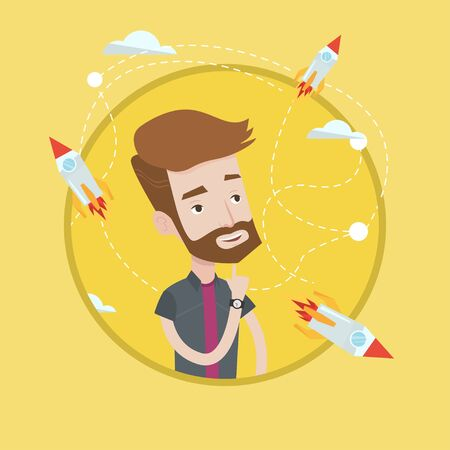 came: Hipster man looking at flying business rockets. Young man came up with an idea for a business startup. Business startup concept. Vector flat design illustration in the circle isolated on background.
