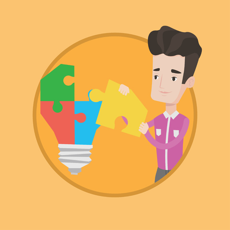 Caucasian businessman completing a light bulb made of puzzle. Cheerful businessman inserts the missing puzzle in the light bulb. Vector flat design illustration in the circle isolated on background. Illustration