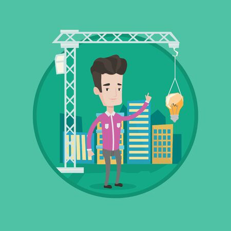 town planning: Architect pointing at idea bulb hanging on crane. Architect having idea in town planning. Concept of new ideas in architecture. Vector flat design illustration in the circle isolated on background.