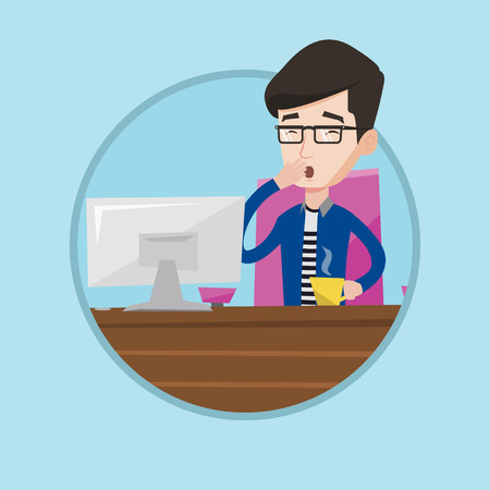 Tired employee yawning while working in office. Exhausted young employee yawning. Young sleepy employee drinking coffee at work. Vector flat design illustration in the circle isolated on background. Vector Illustration