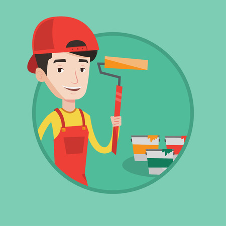 paint can: Happy painter in uniform holding a paint roller in hands. Young cheerful painter at work. Smiling painter standing near paint cans. Vector flat design illustration in the circle isolated on background