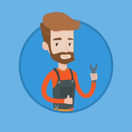 Young caucasian repairman standing with a spanner in hand. Confident hipster repairman with the beard giving thumb up. Vector flat design illustration in the circle isolated on background.
