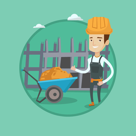 building site: Young happy builder in hard hat giving thumb up. Caucasian builder with thumb up standing on the background of construction site. Vector flat design illustration in the circle isolated on background.
