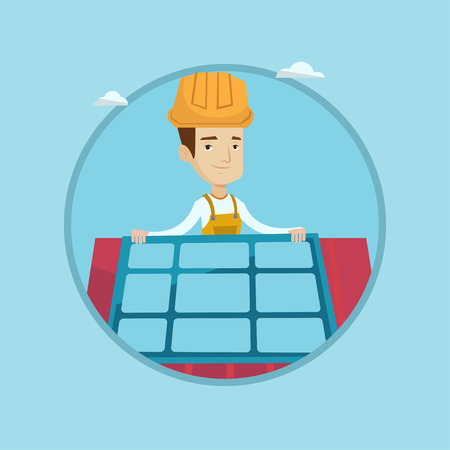 Eengineer installing solar panels on roof. Technician in hard hat checking solar panels on roof. Eengineer adjusting solar panels. Vector flat design illustration in the circle isolated on background. Illustration