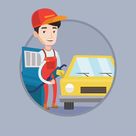 refilling: Worker of gas station filling up fuel into the car. Worker in workwear at the gas station. Gas station worker refueling a car. Vector flat design illustration in the circle isolated on background.