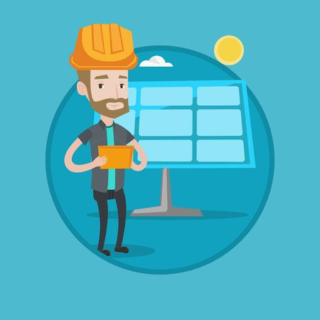 checking: Hipster engineer with beard working on digital tablet at solar power plant. Young worker in hard hat checking solar panel setup. Vector flat design illustration in the circle isolated on background.