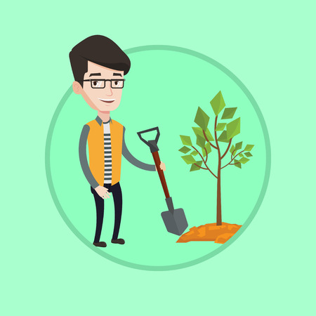 Smiling man plants a tree. Cheerful man standing with shovel near newly planted tree. Young caucasian man gardening with shovel. Vector flat design illustration in the circle isolated on background. Illustration