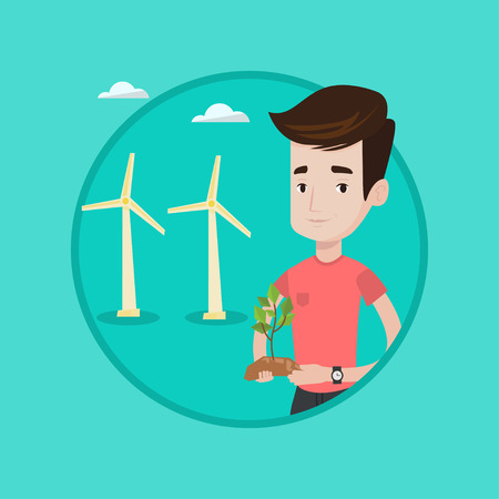 Young man holding small plant on a background of wind farm. Caucasian man with plant in hands on the background of wind turbins. Vector flat design illustration in the circle isolated on background.