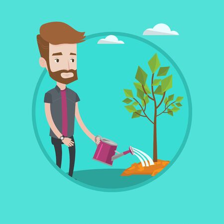 Hipster man with the beard watering tree. Young caucasian gardener with watering can. Concept of environmental protection. Vector flat design illustration in the circle isolated on background.