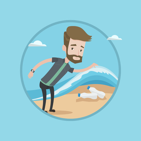 Hipster caucasian young man with beard showing plastic bottles under sea wave. Concept of water pollution and plastic pollution. Vector flat design illustration in the circle isolated on background. Illustration