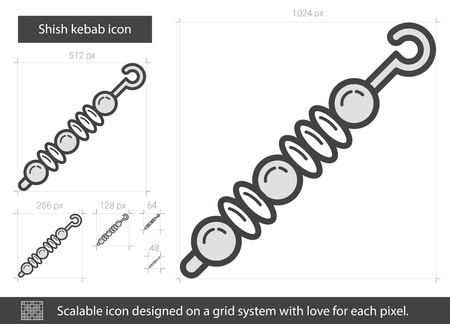 Shish kebab vector line icon isolated on white background. Shish kebab line icon for infographic, website or app. Scalable icon designed on a grid system.