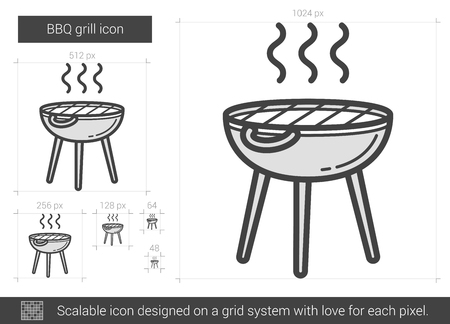 barbecue stove: BBQ grill vector line icon isolated on white background. BBQ grill line icon for infographic, website or app. Scalable icon designed on a grid system.