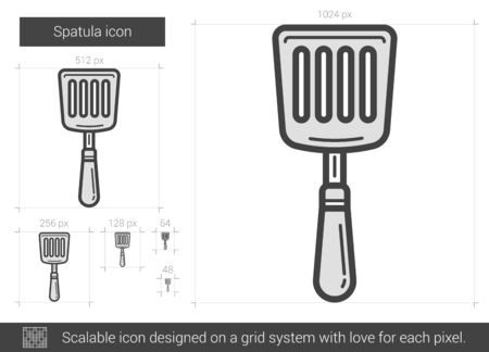 Spatula vector line icon isolated on white background. Spatula line icon for infographic, website or app. Scalable icon designed on a grid system.