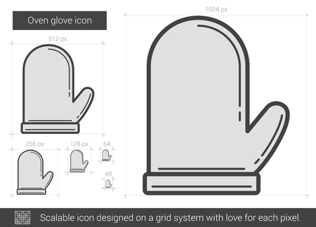 Oven glove vector line icon isolated on white background. Oven glove line icon for infographic, website or app. Scalable icon designed on a grid system. Illusztráció