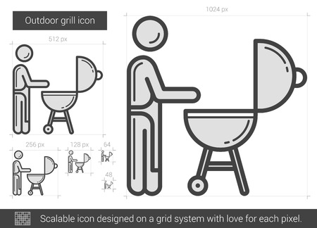 barbecue stove: Outdoor grill vector line icon isolated on white background. Outdoor grill line icon for infographic, website or app. Scalable icon designed on a grid system.