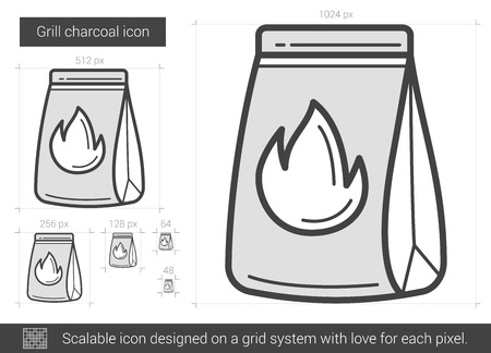 Grill charcoal vector line icon isolated on white background. Grill charcoal line icon for infographic, website or app. Scalable icon designed on a grid system.