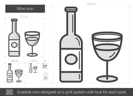 Wine vector line icon isolated on white background. Wine line icon for infographic, website or app. Scalable icon designed on a grid system. 版權商用圖片 - 67368221