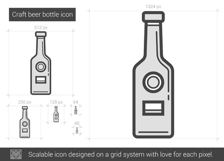 Craft beer bottle vector line icon isolated on white background. Craft beer bottle line icon for infographic, website or app. Scalable icon designed on a grid system. 向量圖像