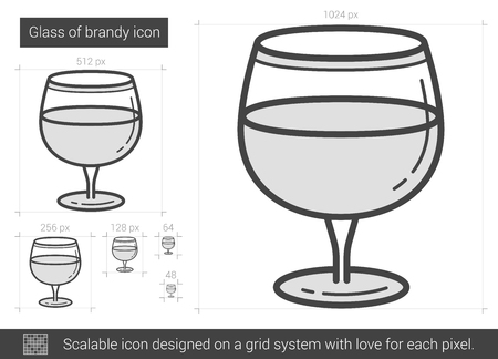 brandy: Glass of brandy vector line icon isolated on white background. Glass of brandy line icon for infographic, website or app. Scalable icon designed on a grid system. Illustration
