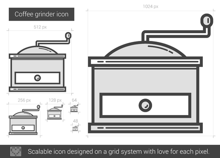 Coffee grinder vector line icon isolated on white background. Coffee grinder line icon for infographic, website or app. Scalable icon designed on a grid system.